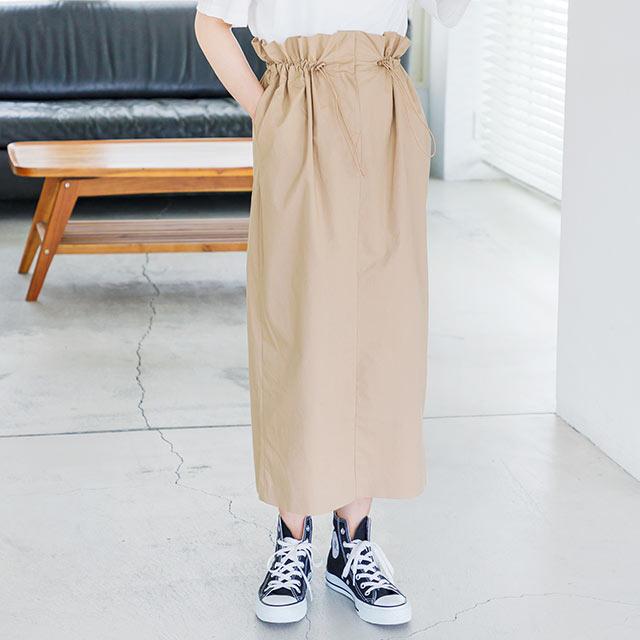 ウエストドロストデザインミディスカート(全2色)[2378M]