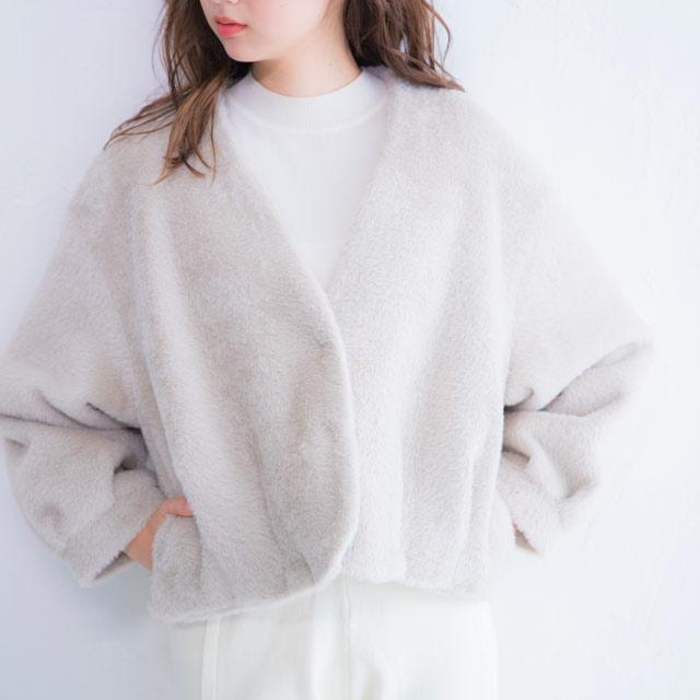 <FINAL SALE>no collar fur short coat[238K]