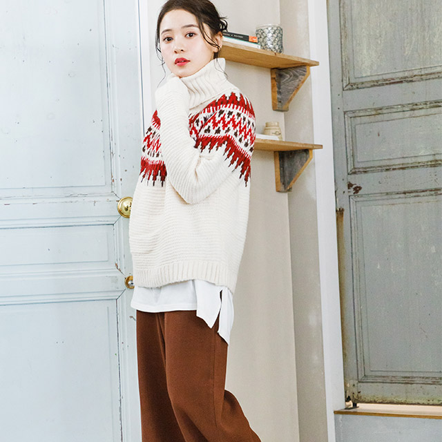 **rinko select**turtle-neck nordic knit[2430C]