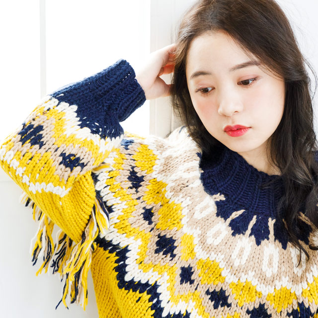≪村田倫子Select≫袖フリンジノルディックニット(全1色)[2431C]
