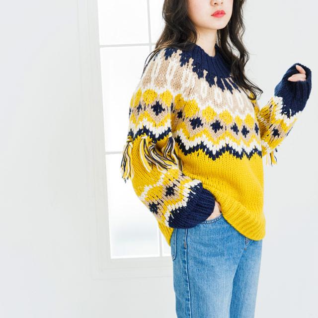**rinko select**sleeve fringe nordic knit[2431C]