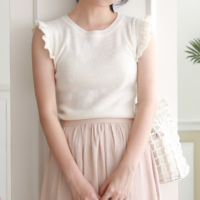 【4/8(wed)19:00〜】4color sleeveless frill knit[245C]