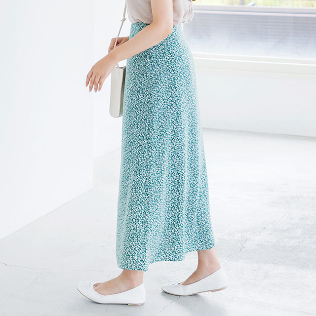 <Summer Sale!!>single color small floral flare skirt[2561M]