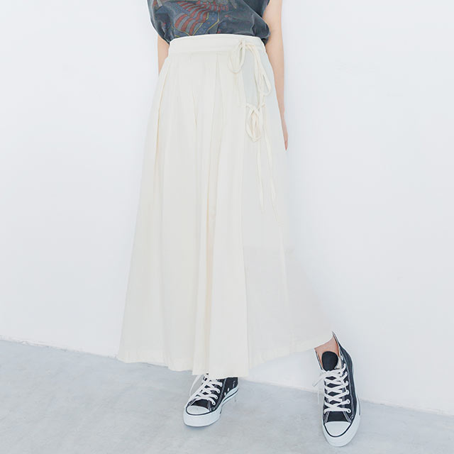 <Spring Sale>side ribbon box pleated skirt[2562M]