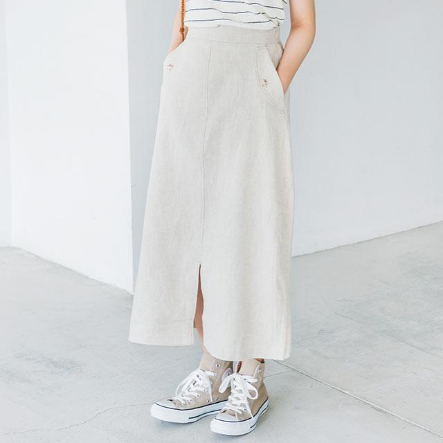 <Summer Sale!!>stitch linen skirt [2563M]
