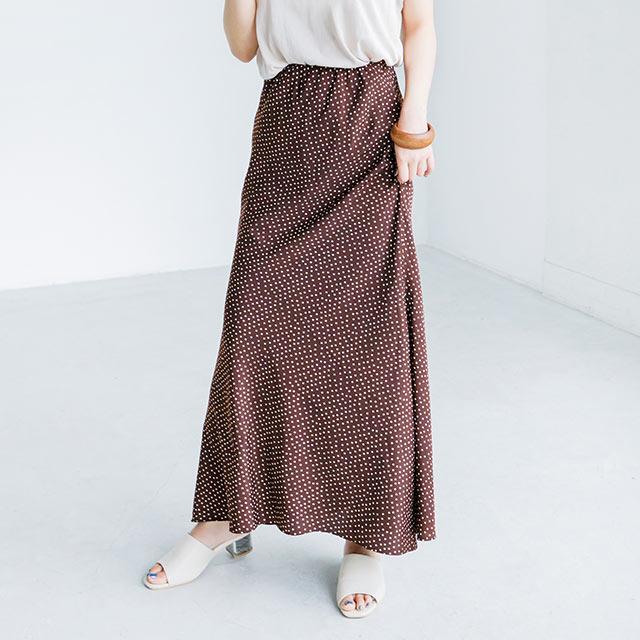 【9/17(火)19:00販売開始】ウエストゴムドットロングスカート(全3色)[2595M]
