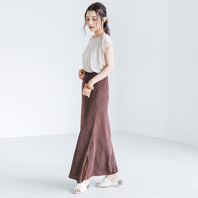 waist rubber dot long skirt[2595M]