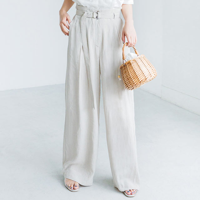 <bottom fair!!6/8(mon)am11:59まで><Sale!!>waist belt linen wide pants[2597M]