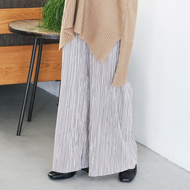 glossy pleated pants[2618M]