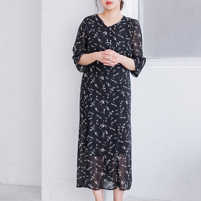 小花柄シフォンワンピース(全2色)[261E]
