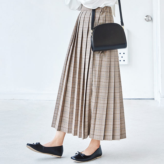 elastic waist pleated skirt[2621M]