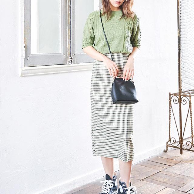check tight skirt[2649M]
