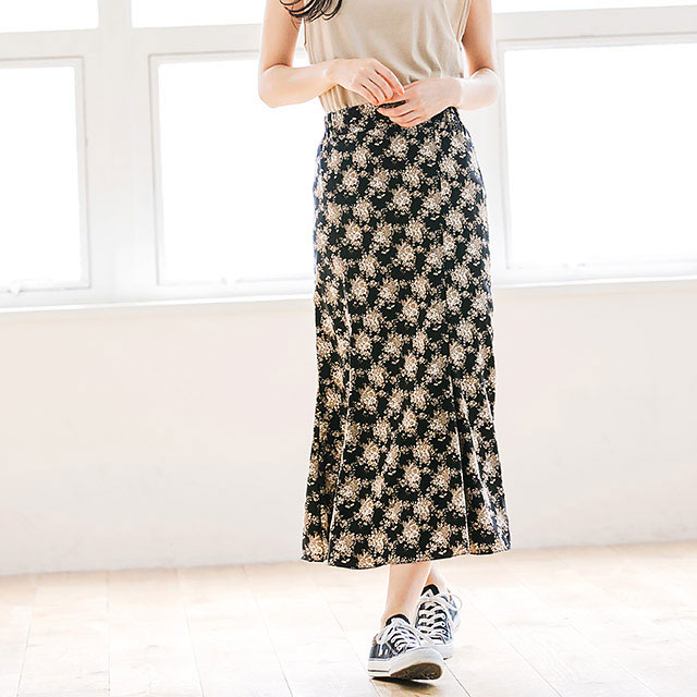 モノトーン花柄マキシスカート(全1色) [264M]