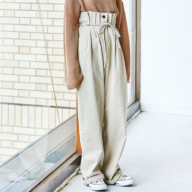 waist wrapping wide pants[2653M]