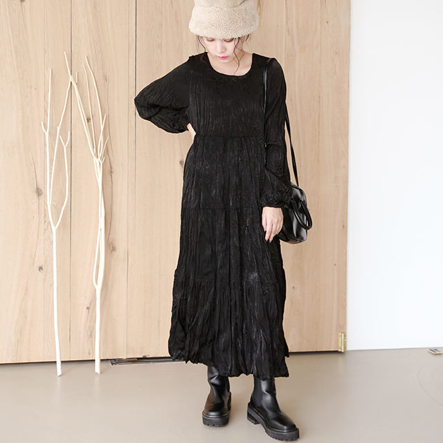 【12/1(tue)19:00〜】crinkle long onepiece[2654E]