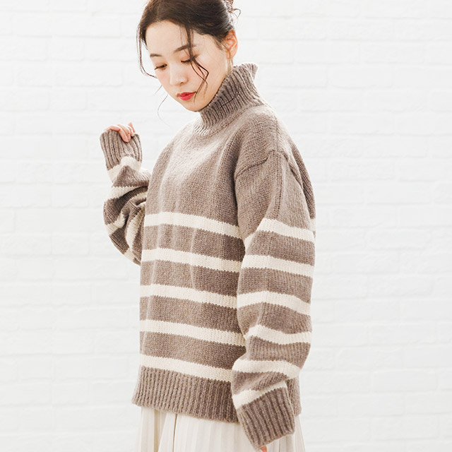 panel border high neck knit[2660C]