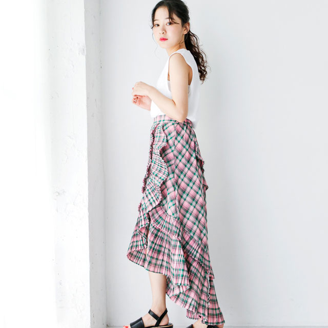 <FINAL SALE>ruffle pleated check skirt [266M]
