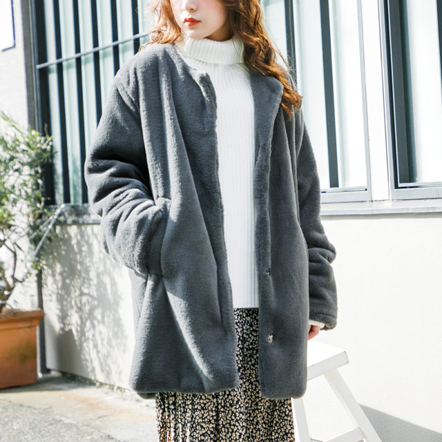 <CLEARANCE SALE>faux fur collar coat[278K]