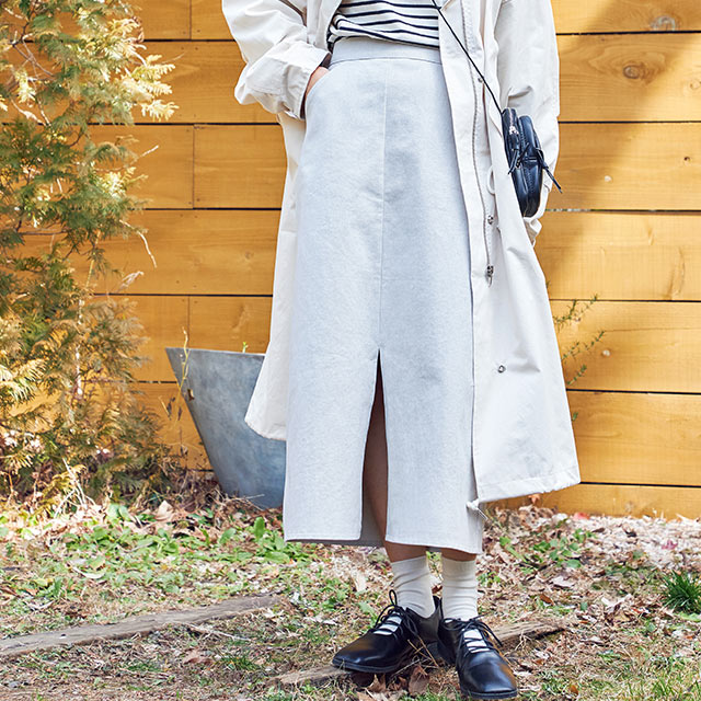 elastic waist skirt[2824M]
