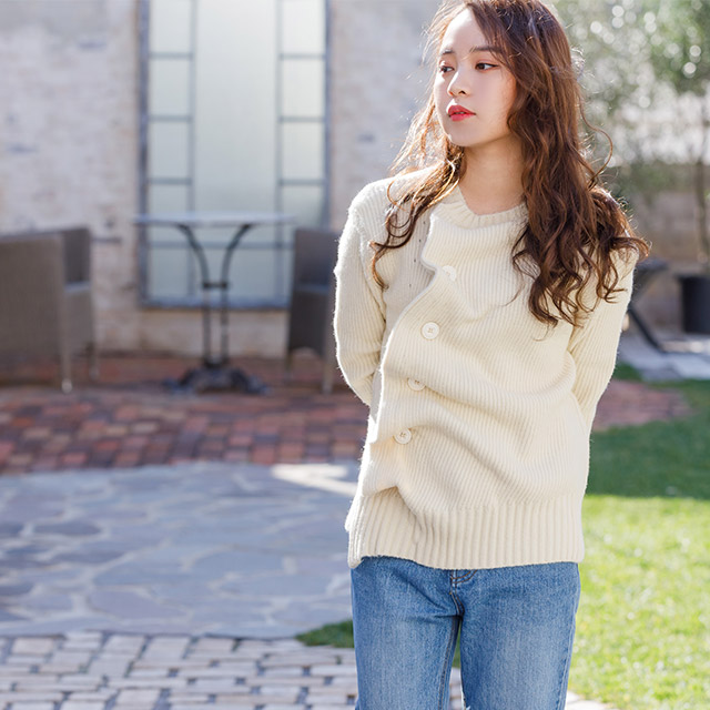 unbalance button knit[2854C]