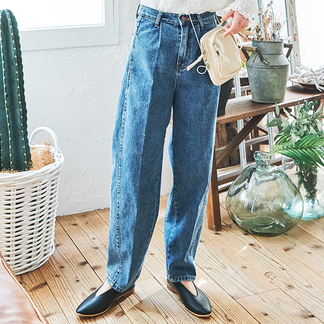high waist yuru silhouette denim pants[2859M]