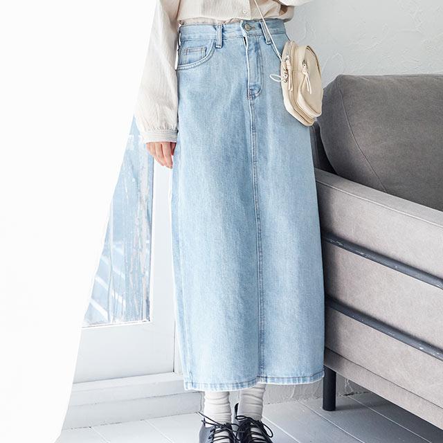 simple denim long skirt[2860M]