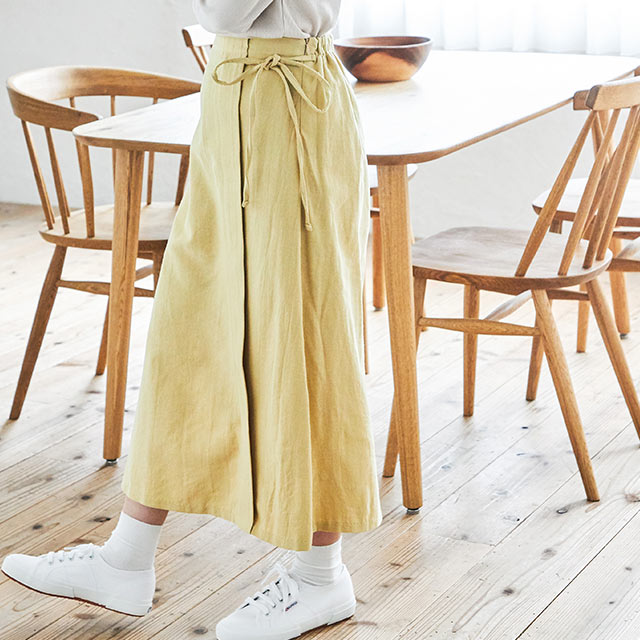 linen-like side ribbon skirt[2874M]