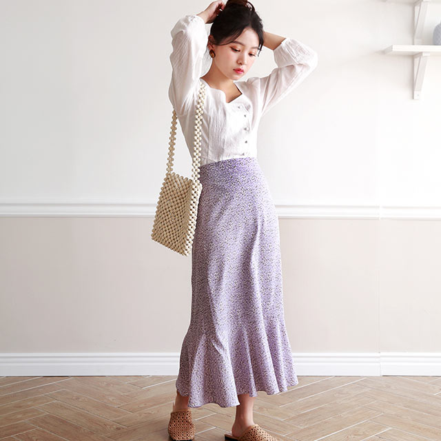flower pattern mermaid skirt[2902M]