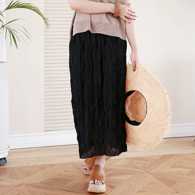 dot shirring skirt[2937M]