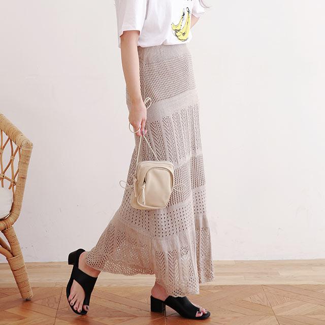 crochet flare skirt[2942M]