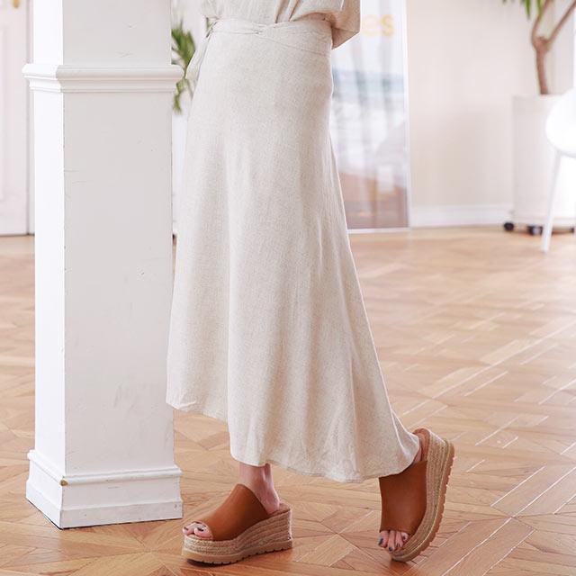 linen-like flare skirt[2945M]