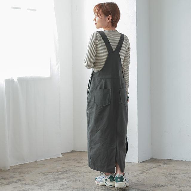 サスペンダーロングジャンパースカート[2963E]