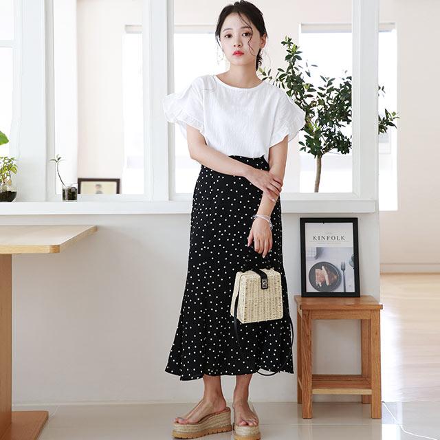 【8/12(wed)19:00〜】dot long skirt[2972M]