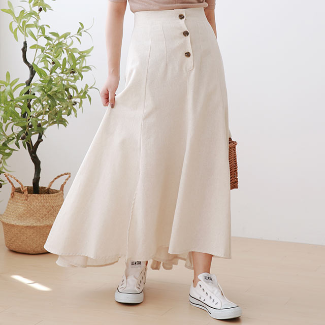 front button flare skirt[3027M]