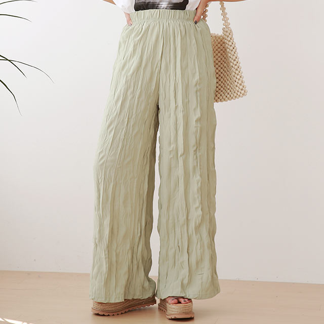sheer shirring wide pants[3028M]