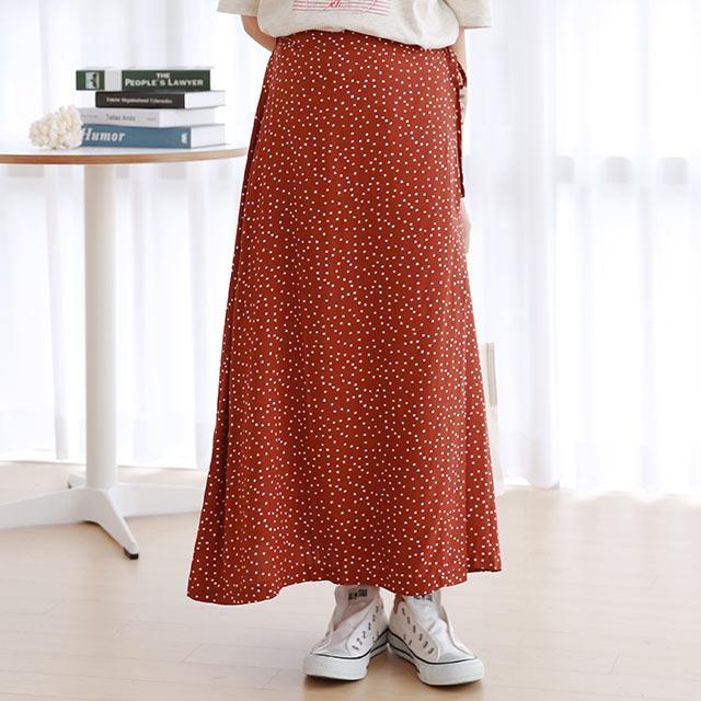 side ribbon dot skirt[3030M]