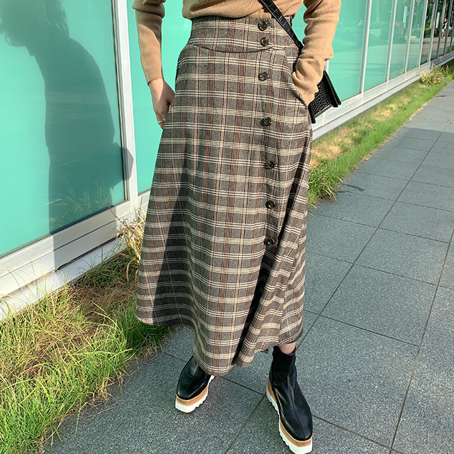 【9/17(thu)19:00〜】【MERY × Isn't She】check flare button skirt[3062M]