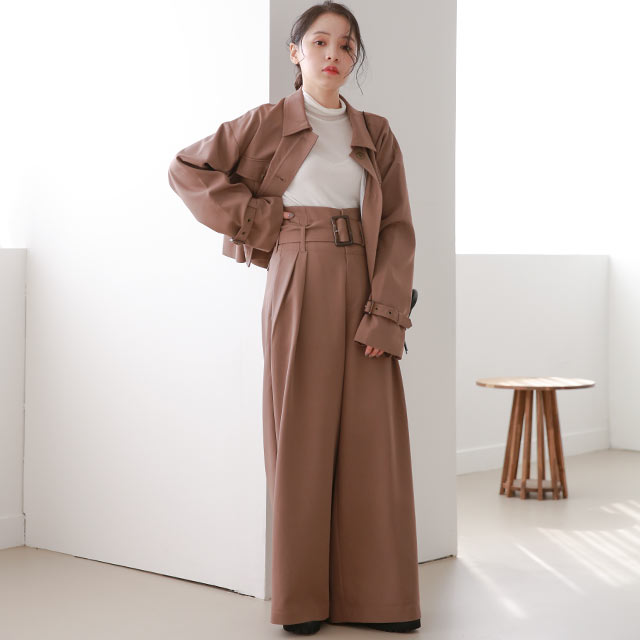 【10/22(thu)21:00〜】【Mayu Hotta × Isn't She?】high-waist tuck wide pants[3087M]【12月上旬予約】
