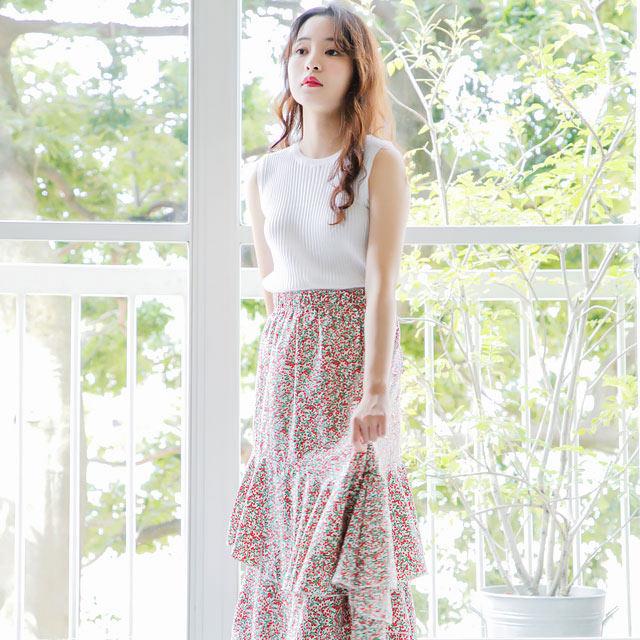 小花柄ティアードマキシスカート(全2色)[311M]【7月下旬予約】