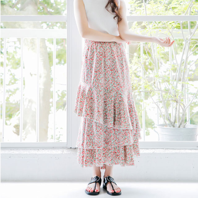 <Spring Sale>small floral tiered maxi skirt[311M]