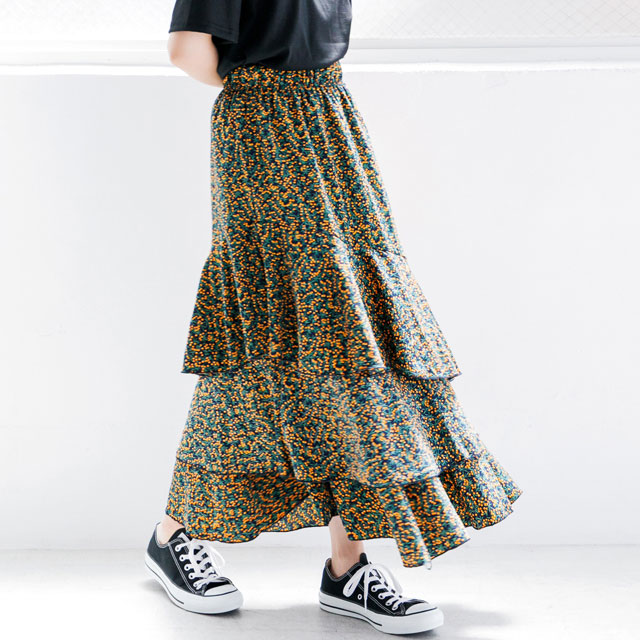 <FINAL SALE>small floral tiered maxi skirt[311M]
