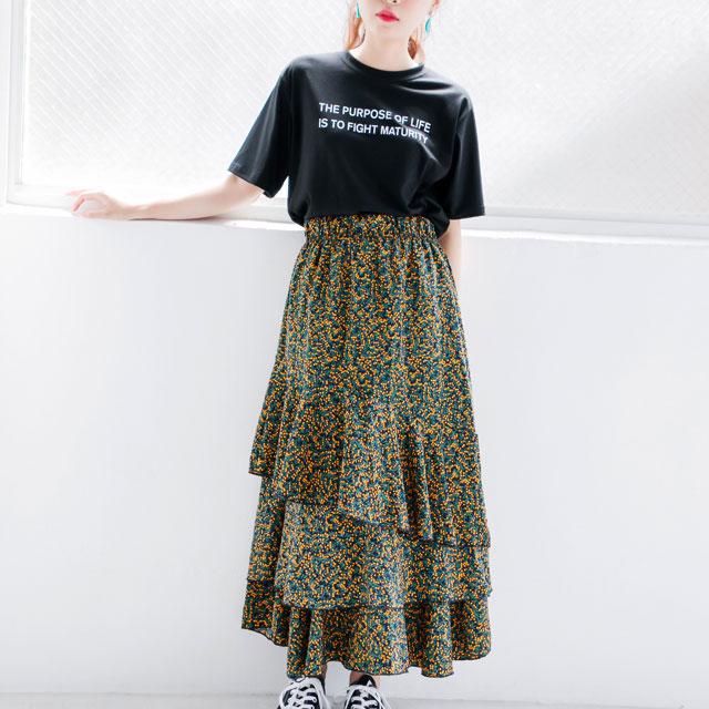 小花柄ティアードマキシスカート(全2色)[311M]