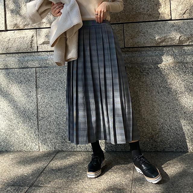 【12/6(sun)19:00〜】check pleated long skirt[3130M]