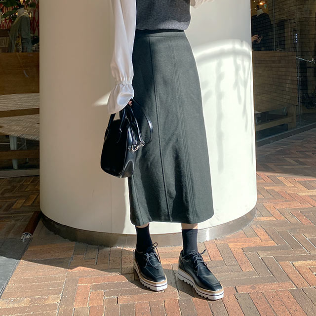 【12/2(wed)19:00〜】wool mix I-line skirt[3134M]
