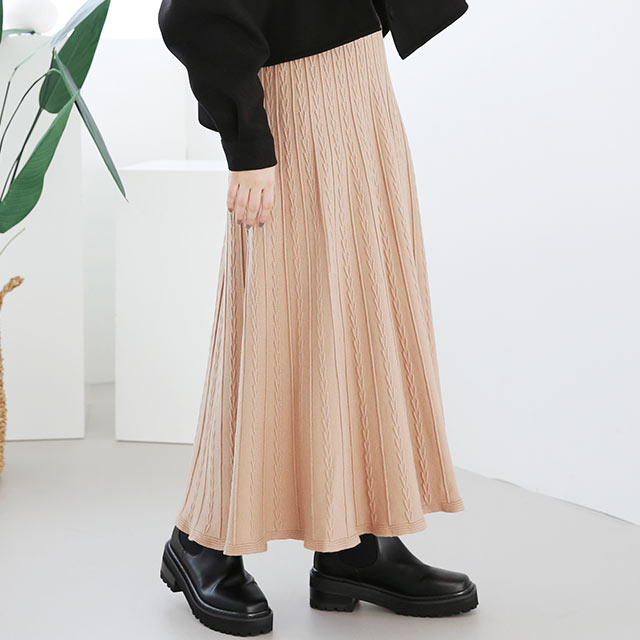 cable knit skirt[3137M]