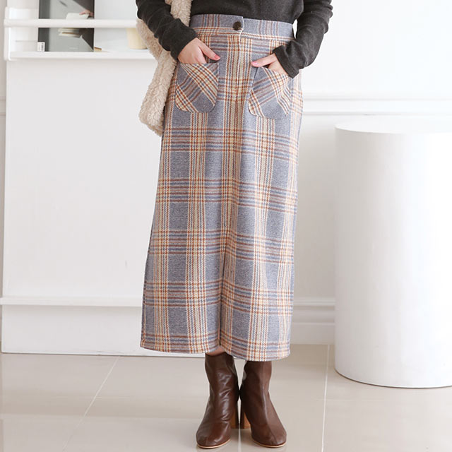 AW check A line skirt[3186M]