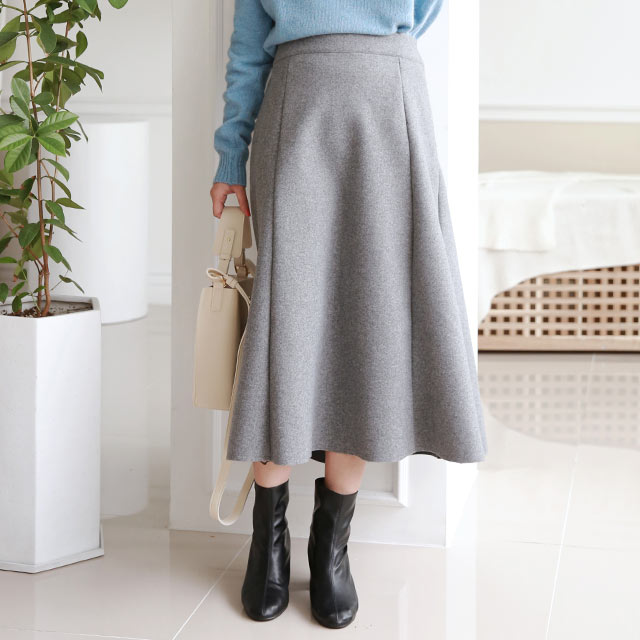 wool-like flare skirt[3188M]