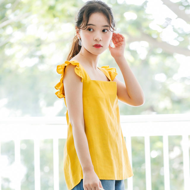 shoulder ruffle sleeveless tops[319C]