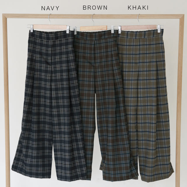 check wide pants[3212M]