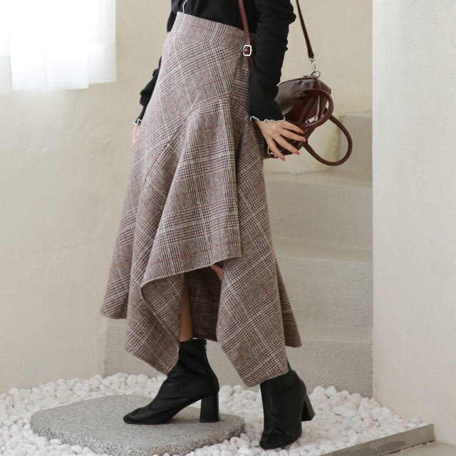 【1/21(thu)19:00〜】check asymmetry flare skirt[3220M]